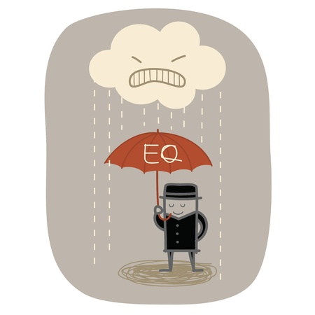 personality development: businessman use EQ umbrella to protect from angry rain Illustration