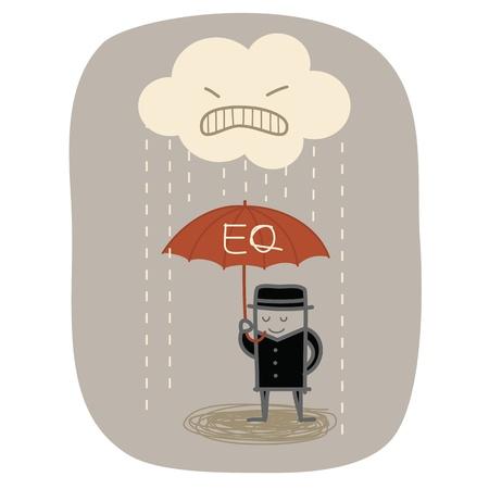 personality: empresario uso EQ paraguas para protegerse de la lluvia furiosa