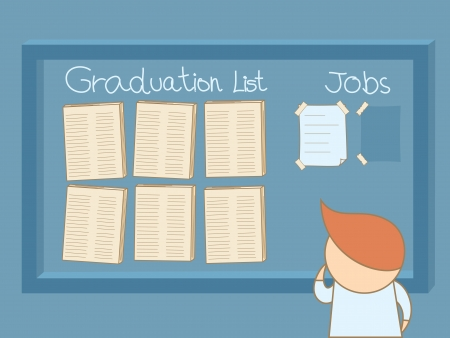 unemployed: graduated man looking for a job on board Illustration