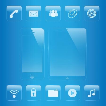 携帯電話とタブレットのアイコンとインターフェイスのガラス セット  イラスト・ベクター素材