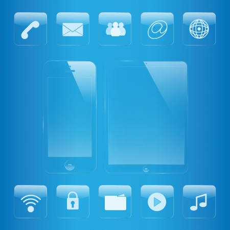 phone button: mobile phone and tablet icon and interface glass set