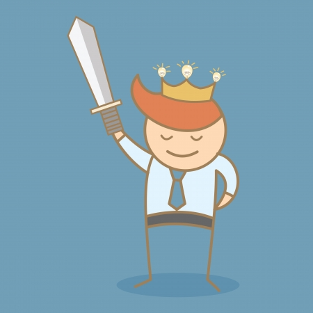 crown of light: business man hold sword and crown win the idea Illustration