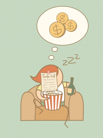 unemployed: lazy man day dream rich cartoon character concept Illustration