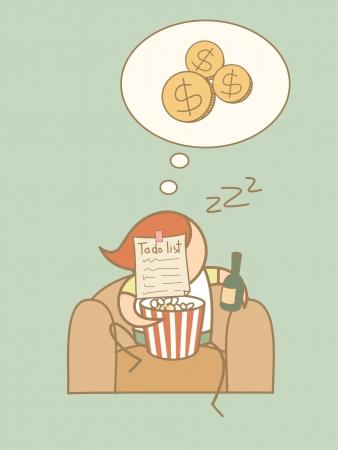 slob: lazy man day dream rich cartoon character concept Illustration