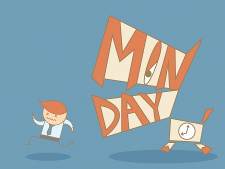 business man running from Monday monster Illustration