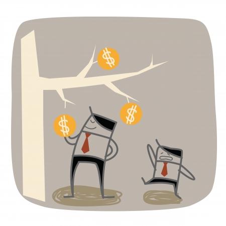 businessman higher the richer Vector