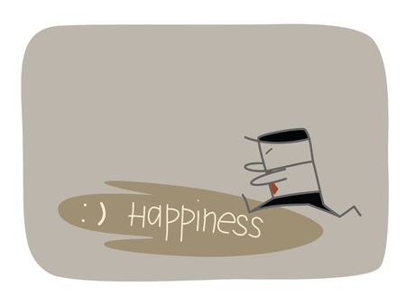 businessman chasing shadow of happiness Vector