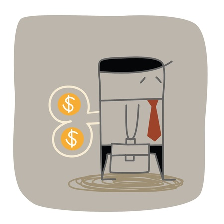 office automation: business man dollar wind up
