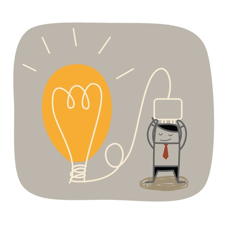 creative communication: business man plug idea bulb