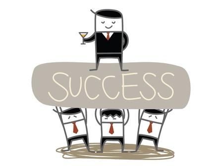 business man team lift boss to success
