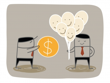 business man buying happiness Vector