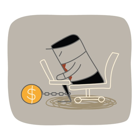 or lock up: Hombre de negocios encerrar trabajando duro por su dinero