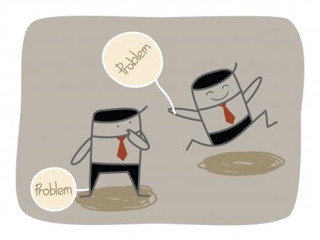 楽観: 問題を扱っているビジネス男  イラスト・ベクター素材