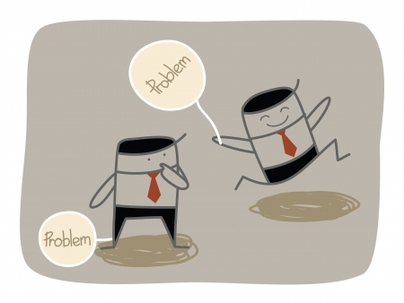 negativity: business man dealing with problem  Illustration