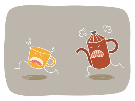 coffee cup running from heated pot Vector