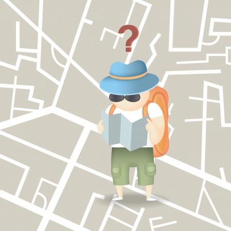 ciudad turística mochila Ilustración de vector