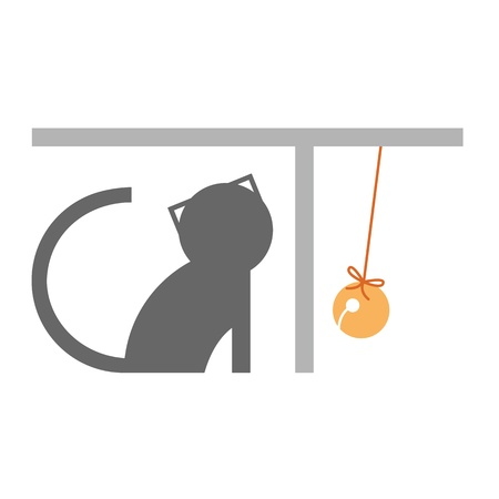 graphic cat character playing bell Vector