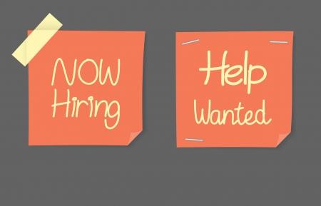 help wanted sign: Ahora contrataci�n y ayudar a �rdenes de b�squeda
