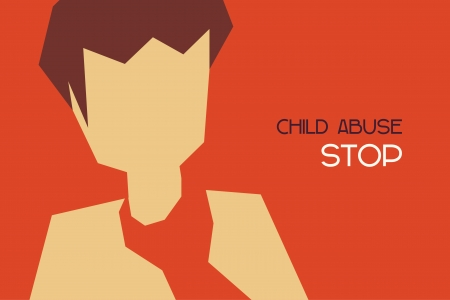 minimal design of child abuse concept Vector
