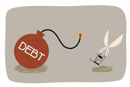 schuld: cartoon karakter van de schuld management concept