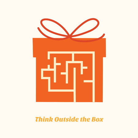 minimal desing of think outside the box concept Stock Vector - 22524967