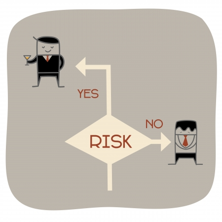 risk taking: cartoon character of take a risk concept