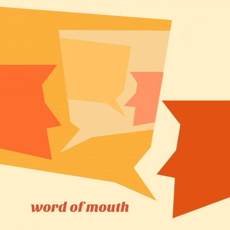 reputation: minimal design of word of mouth concept
