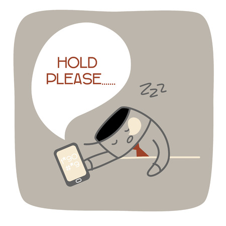boring: business man fall asleep as he waiting so long for call center service Illustration