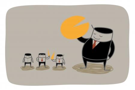 dominance: Man concepto cuota de mercado de monopolio empresarial