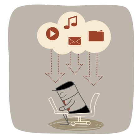 business man download media mail music movie from cloud storage system