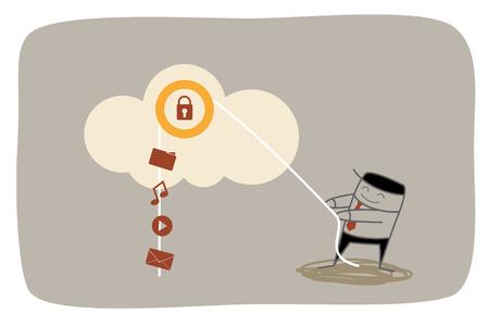 secured: business man upload media mail music movie to secured cloud storage system Illustration