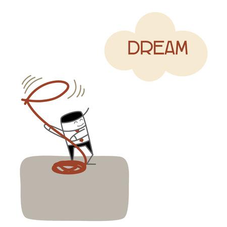 将来の成功ビジネスの男のビジョンとキャッチ夢します。  イラスト・ベクター素材