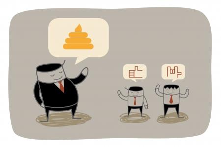 flatter: business man trying to flatter boss