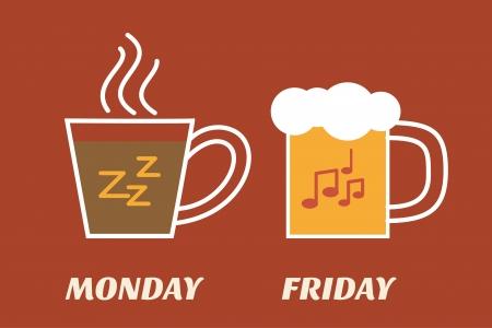 월요일 커피 금요일 맥주 일러스트