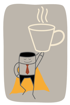 super business man get big mug of coffee power up on monday Vector