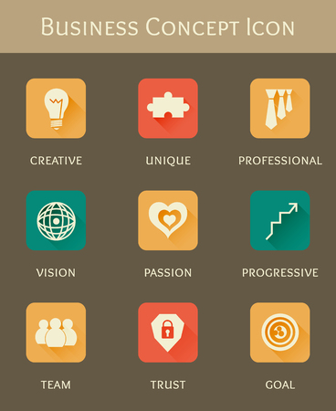 one team: business concept flat icon set