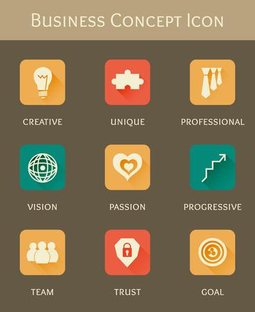 recruitment icon: business concept flat icon set