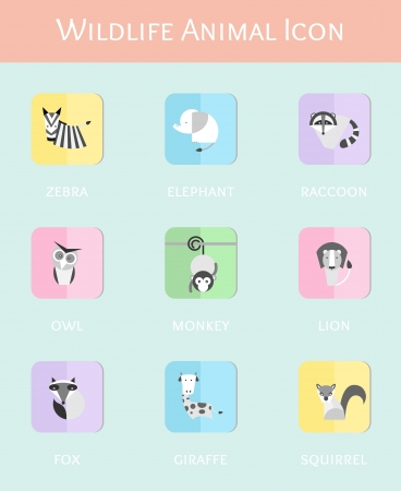 wildlife animal flat icon set Vector
