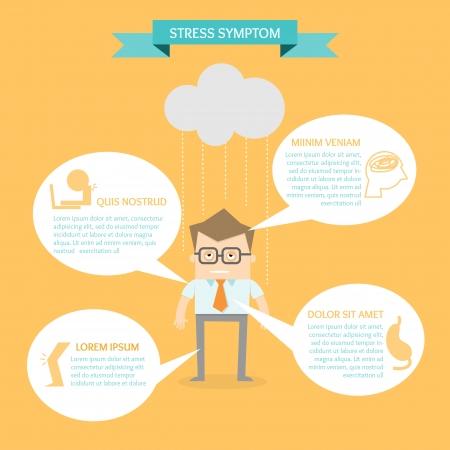健康インフォ グラフィックのストレス症状の概念上のビジネスの男性