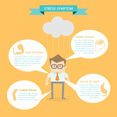 sintoma: homem de negócios no infográfico conceito sintoma de estresse saúde Ilustra��o
