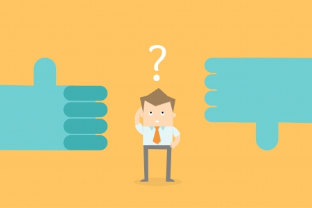 business man confuse make decision career options Vectores
