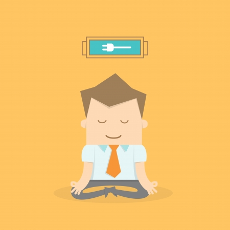 man meditating: business man meditating to recharge and relax