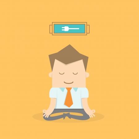 resolving: uomo d'affari meditando per ricaricarsi e rilassarsi Vettoriali