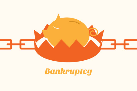 bankruptcy situation piggy bank on trap Vector