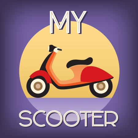 vespa: scooter art deco retro stijl Stock Illustratie