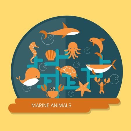 marine animals protection and conservation Vector