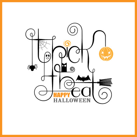 Trick or Treat Happy Halloween Greeting Card Stock Vector - 31669883