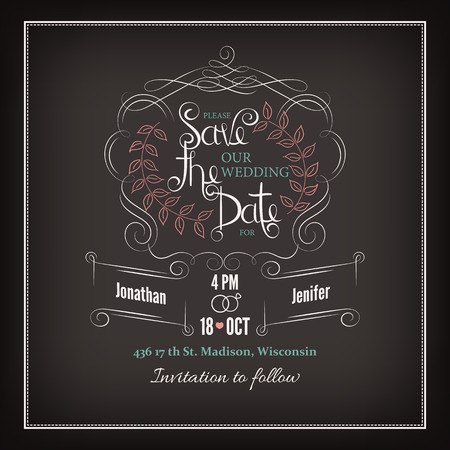 Save the Date Calligraphy Vector