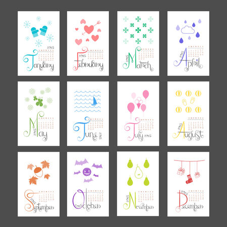 Calendar 2015 Mini Wall Lettering Monthly Sunday Start Vector