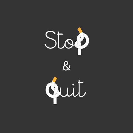 quit smoking: Stop and Quit Smoking concept Lettering